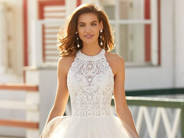 35 vestidos de novia con escote halter, ¡logra un look estilizado y elegante!