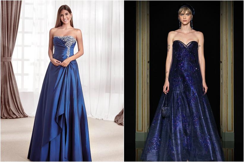 vestidos largos azules de fiesta para invitadas a bodas