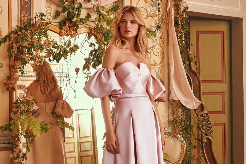 vestido de fiesta para boda strapless color rosa