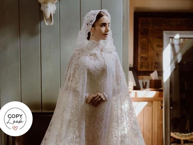 Lily Collins y su vestido de novia: ¡así puedes encontrar un look similar!