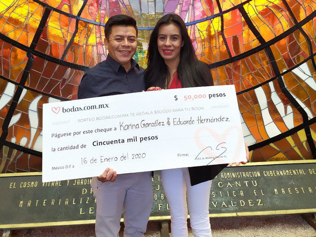 Eduardo y Karina ganaron los 50 mil pesos del sorteo de Bodas.com.mx