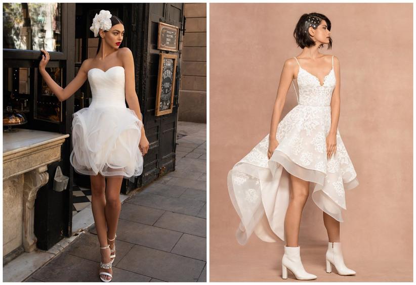 vestidos de novia cortos escote strapless corazón
