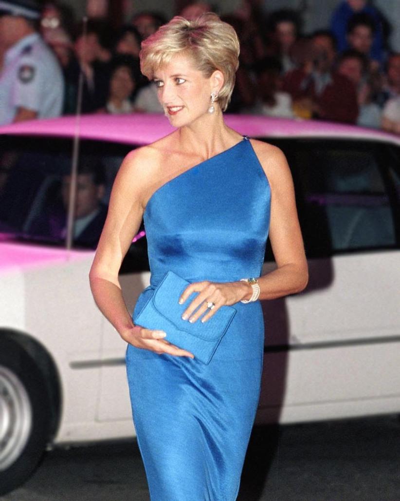 vestido azul largo escote asimétrico diana princesa