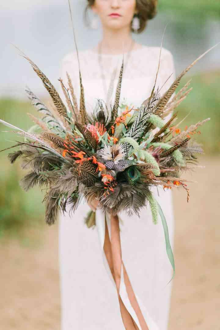 ramo de novia con flores de otoño