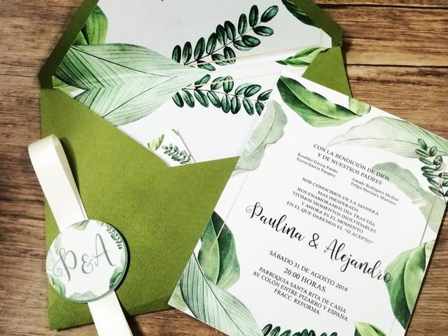35 invitaciones de boda verdes, naturalmente encantadoras