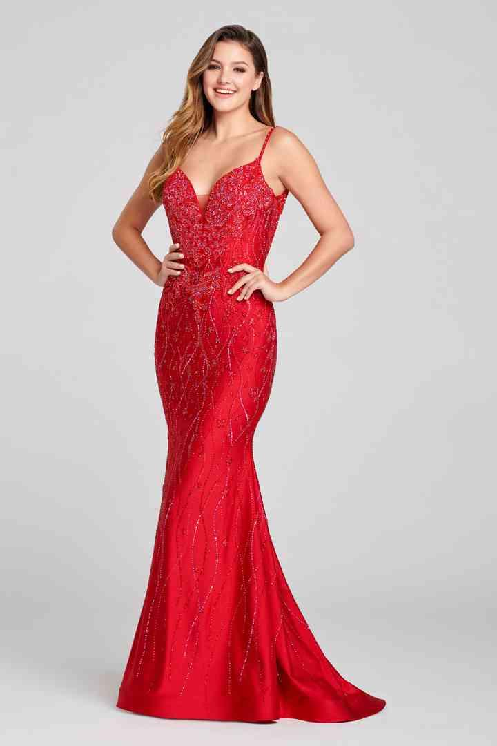 vestido rojo largo sirena con tirantes