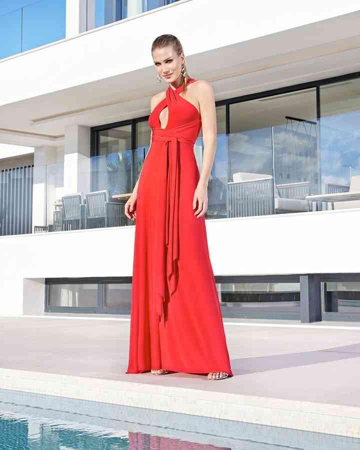 vestido de fiesta rojo escote halter