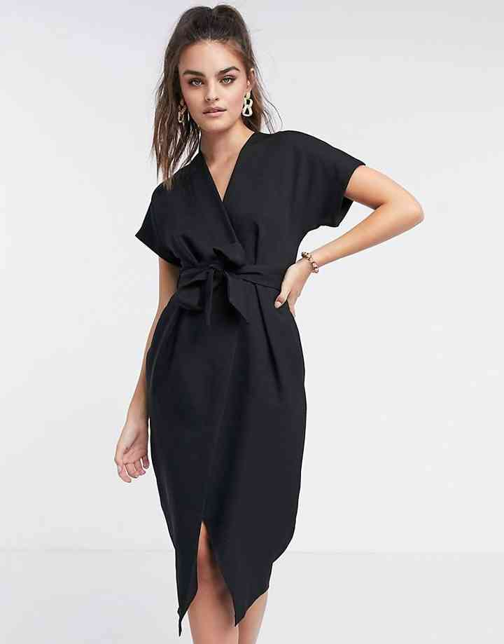 vestido negro de fiesta casual para boda