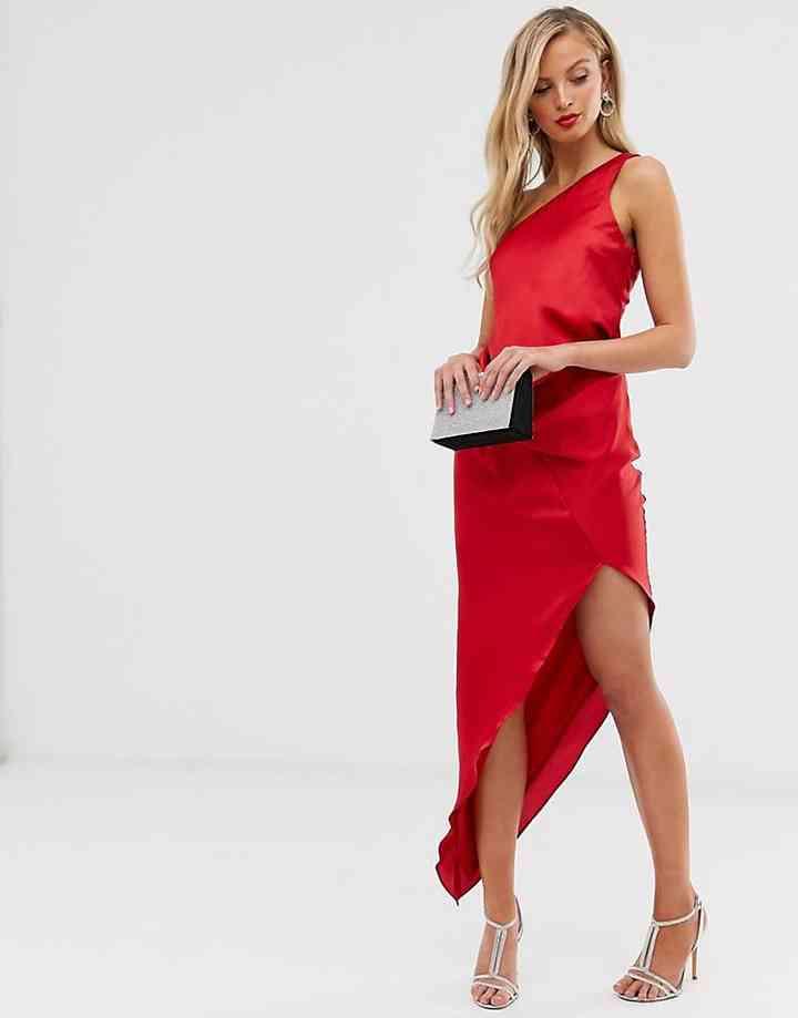 vestido rojo de fiesta elegante juvenil