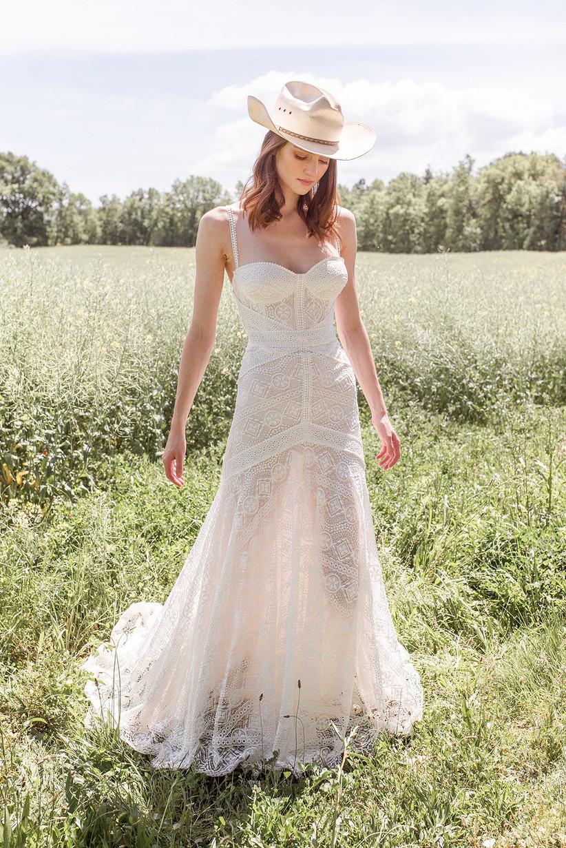 vestido de novia escote corazón con tirantes y de encaje