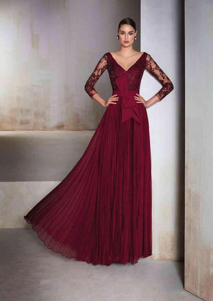 vestido rojo oscuro para fiestas de noche