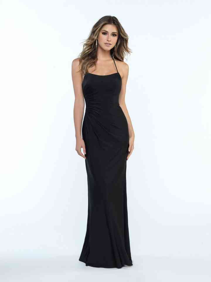 vestido de fiesta negro corte sirena sencillo
