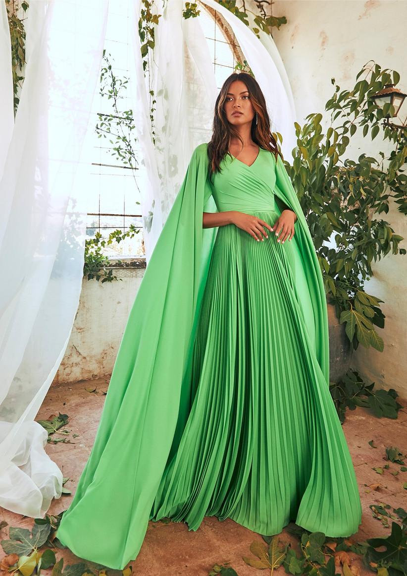 vestido de fiesta para boda plisado verde