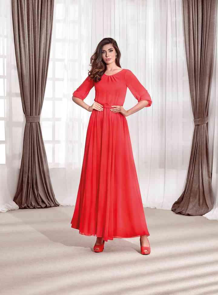 vestido rojo para fiesta largo al tobillo