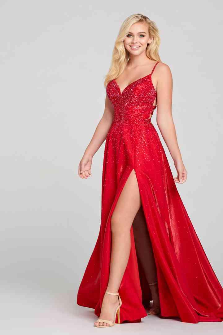 vestido elegante rojo para fiesta de noche