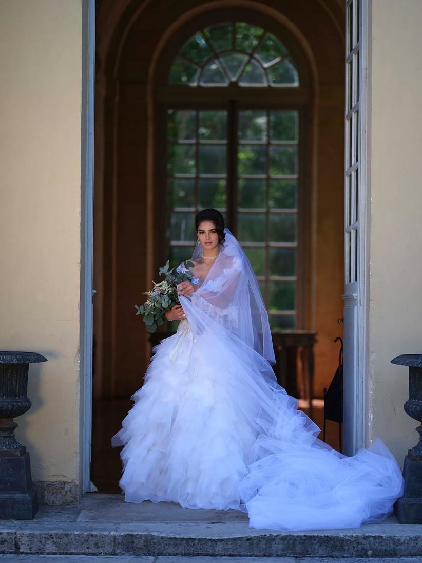 velo novia vestido princesa