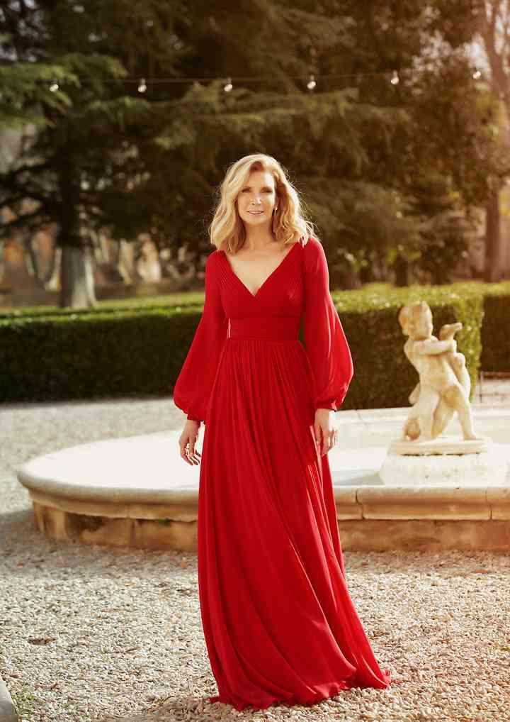 vestido rojo de fiesta manga abullonada