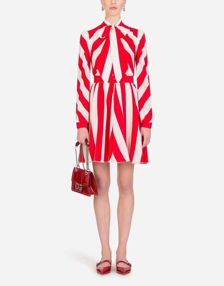 vestido a rayas corto rojo