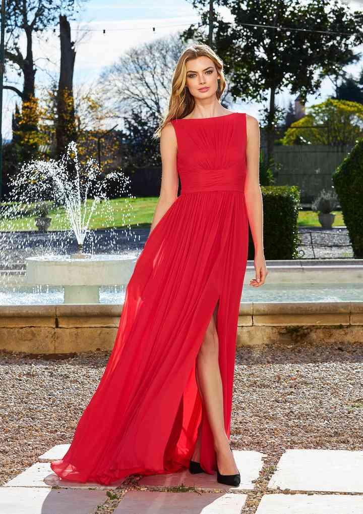 vestido rojo para fiesta largo y con abertura