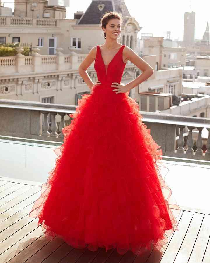 vestido de fiesta rojo para boda elegante