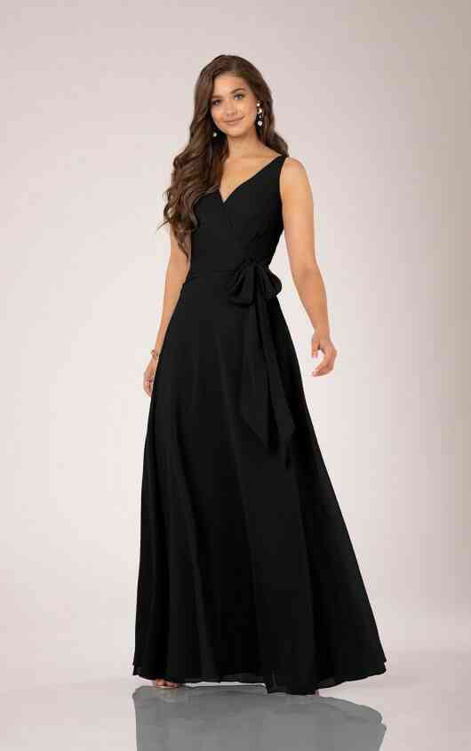 vestido largo negro para boda de noche