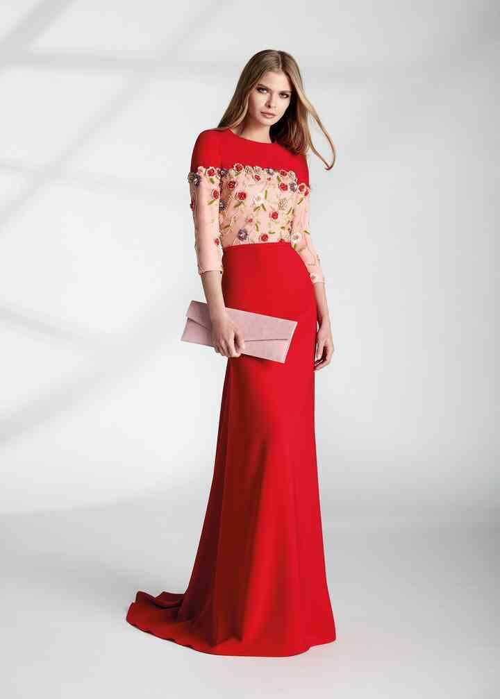 vestido rojo para fiesta con transparencia