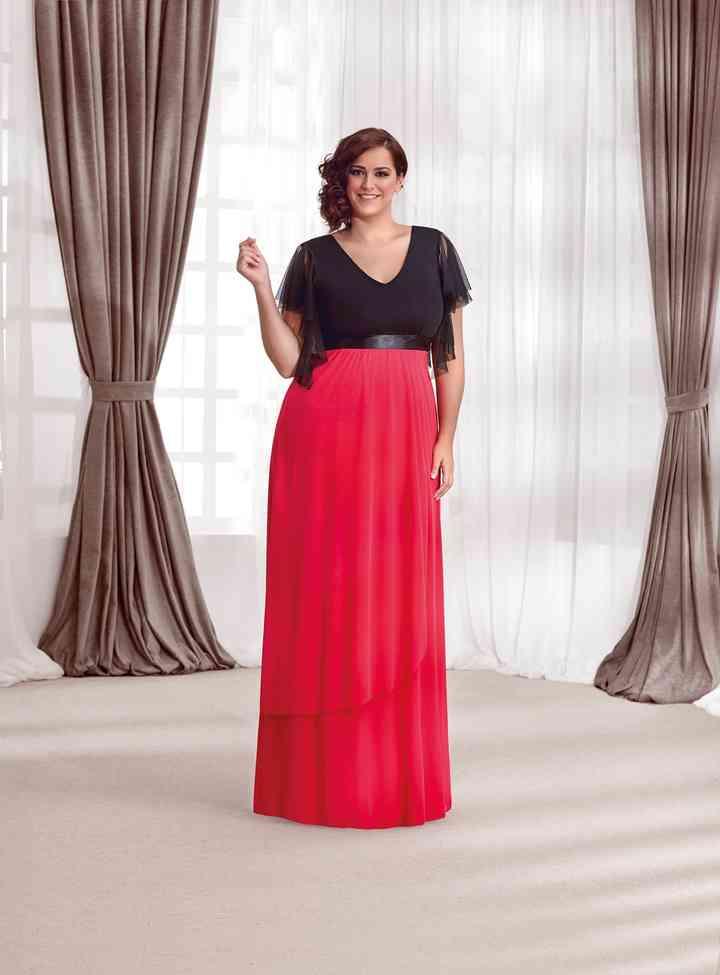 vestido de fiesta rojo y negro para tallas grandes