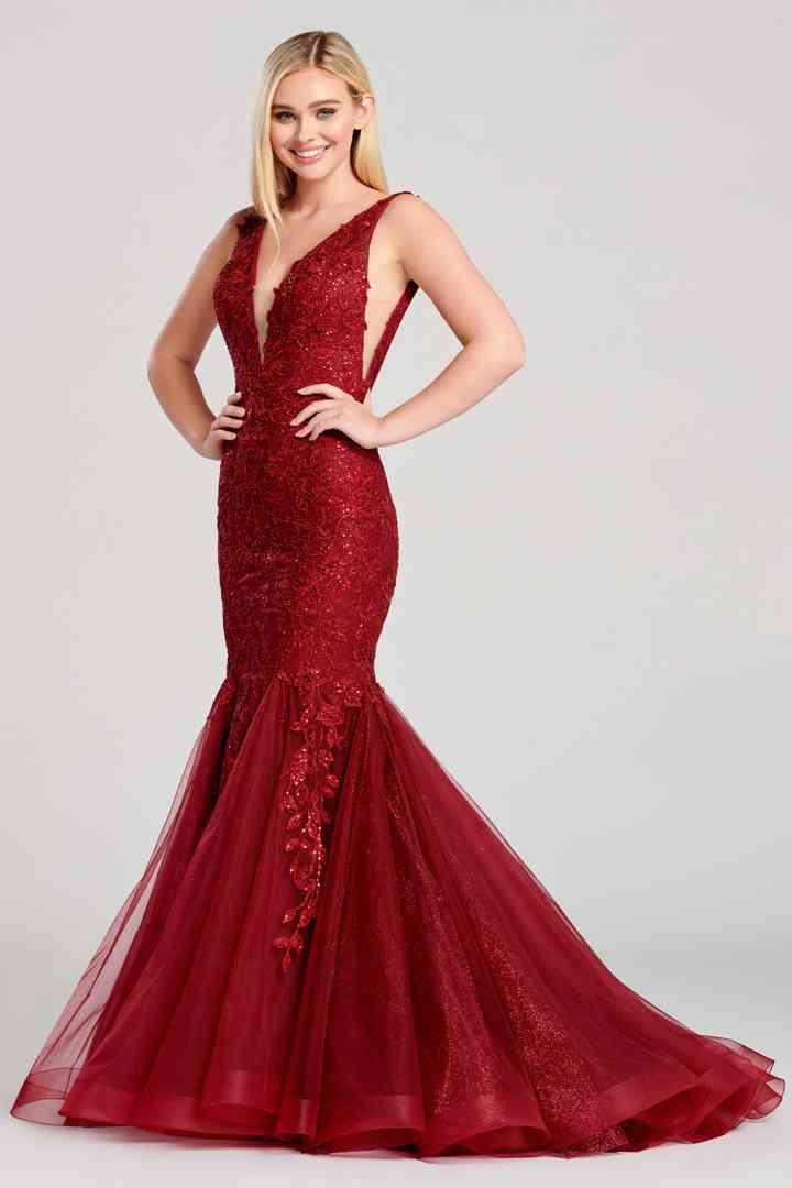 vestido rojo oscuro para boda de noche