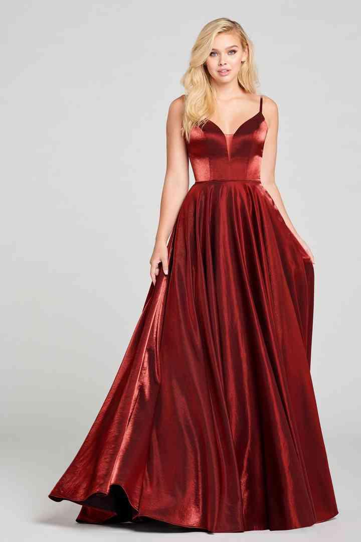 vestido de fiesta rojo vino para boda de noche