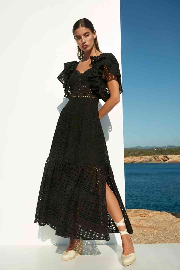 vestido negro de fiesta casual de encaje y manga corta