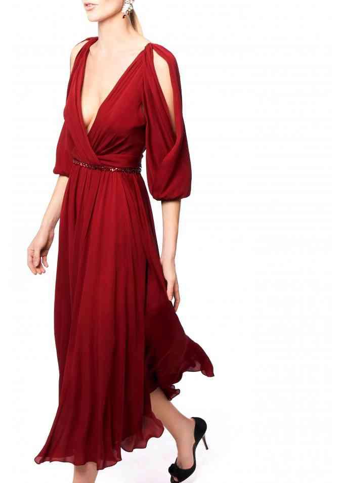 vestidos de fiesta rojos oscuro escote en V y manga tres cuartos