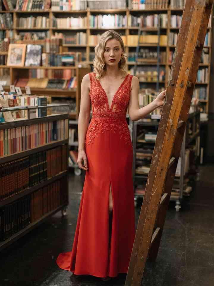 Vestido rojo de fiesta elegante para boda formal