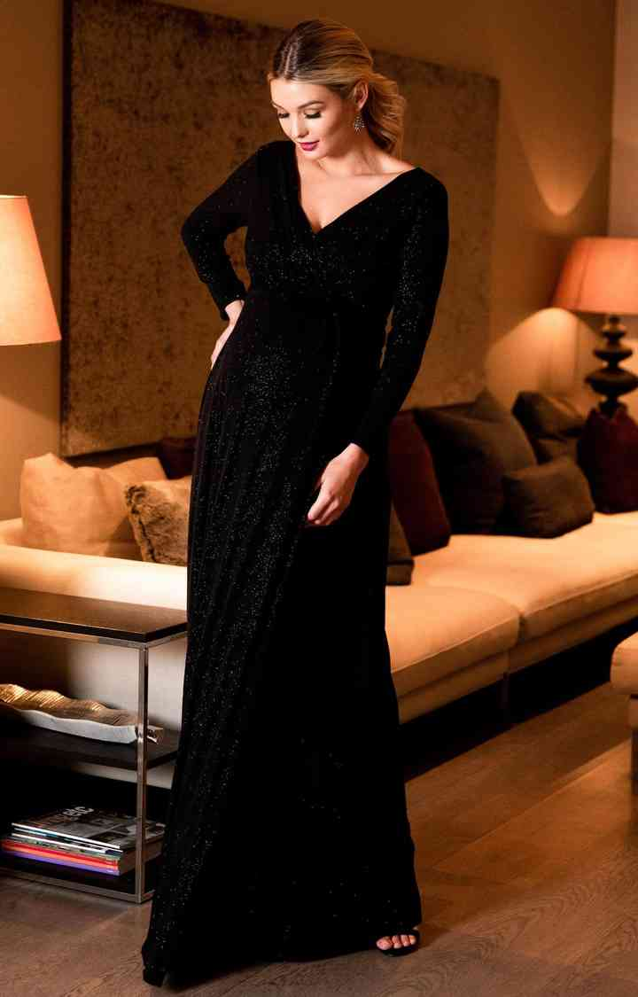 vestido de noche para embarazada con manga larga