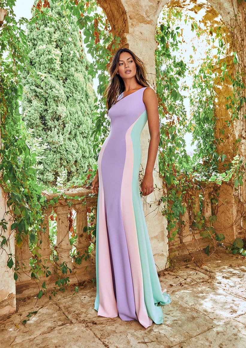 vestido de coctel largo para boda multicolor
