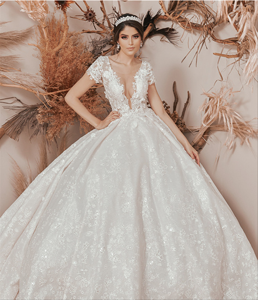 vestido de novia corte princesa con manga corta y transparencia