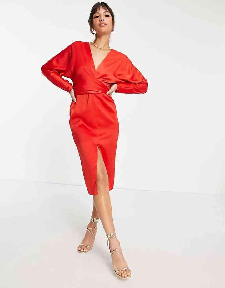 vestido rojo manga larga midi
