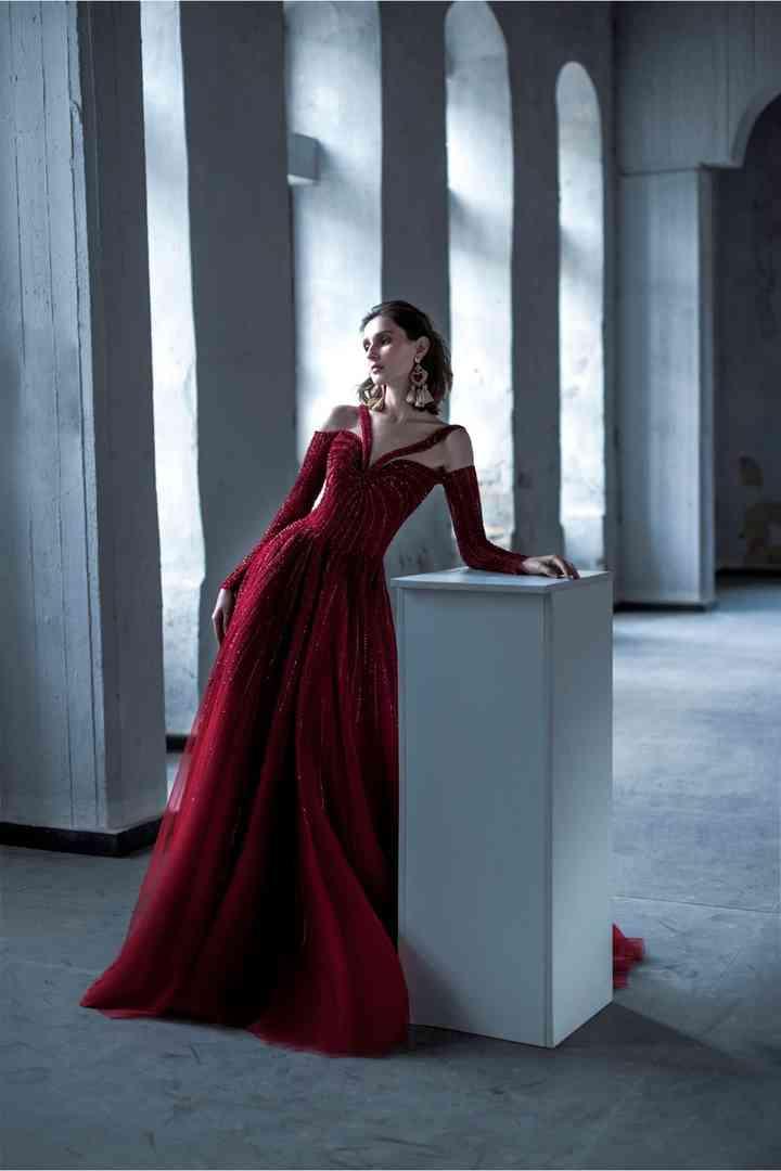 vestidos de color rojo vino para fiestas