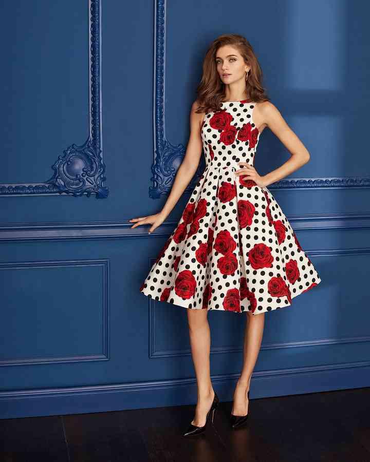 vestidos rojos de fiesta corto con estampados