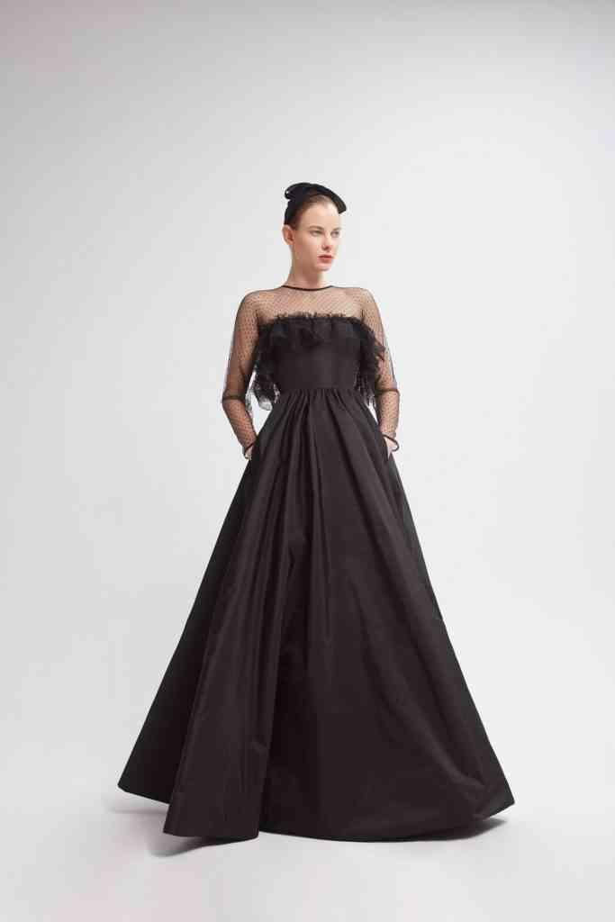 vestido negro de fiesta falda amplia