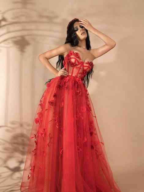 vestido rojo para fiesta escote corazón