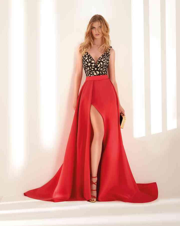 Vestido rojo largo de fiesta noche