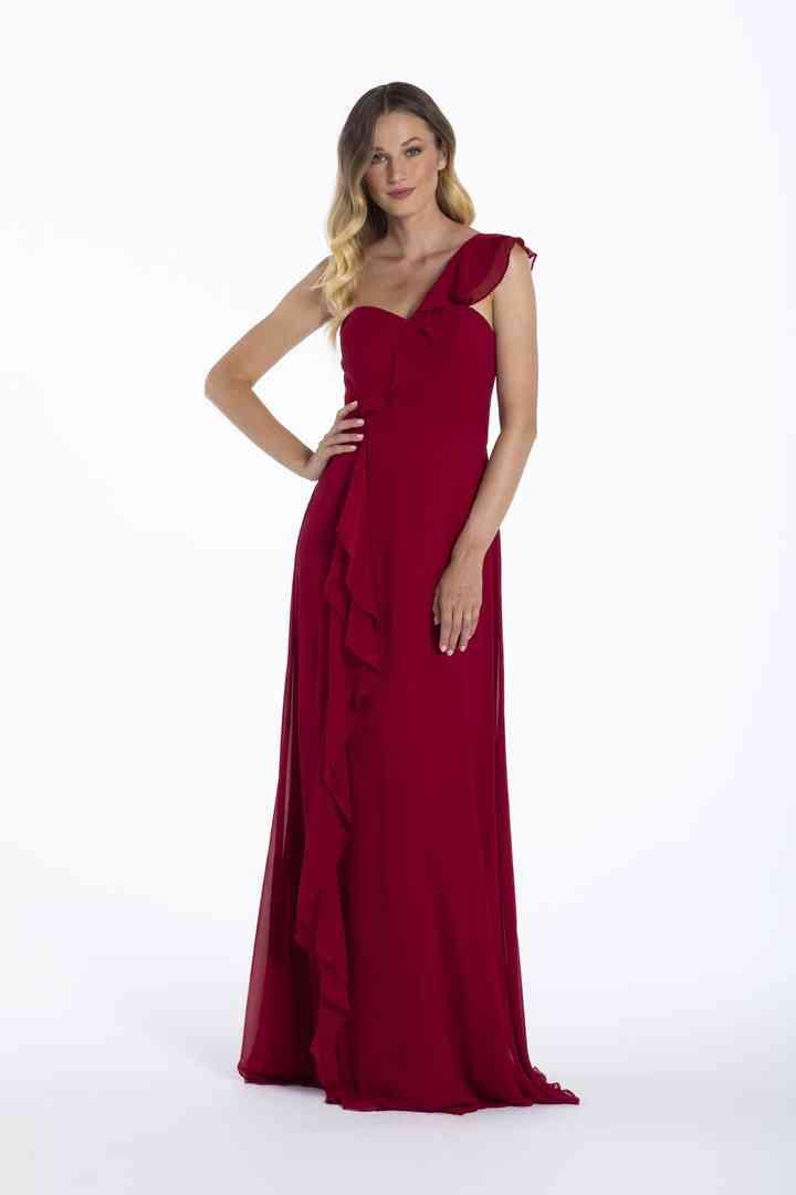 vestido de fiesta rojo oscuro escote asimétrico