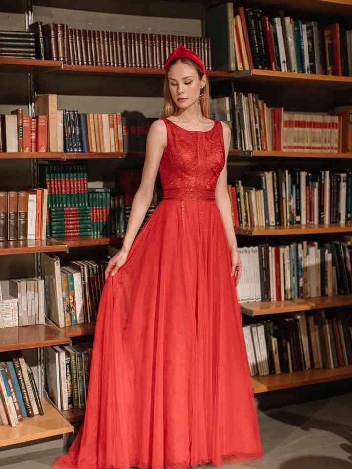 vestido rojo largo para fiesta sin mangas