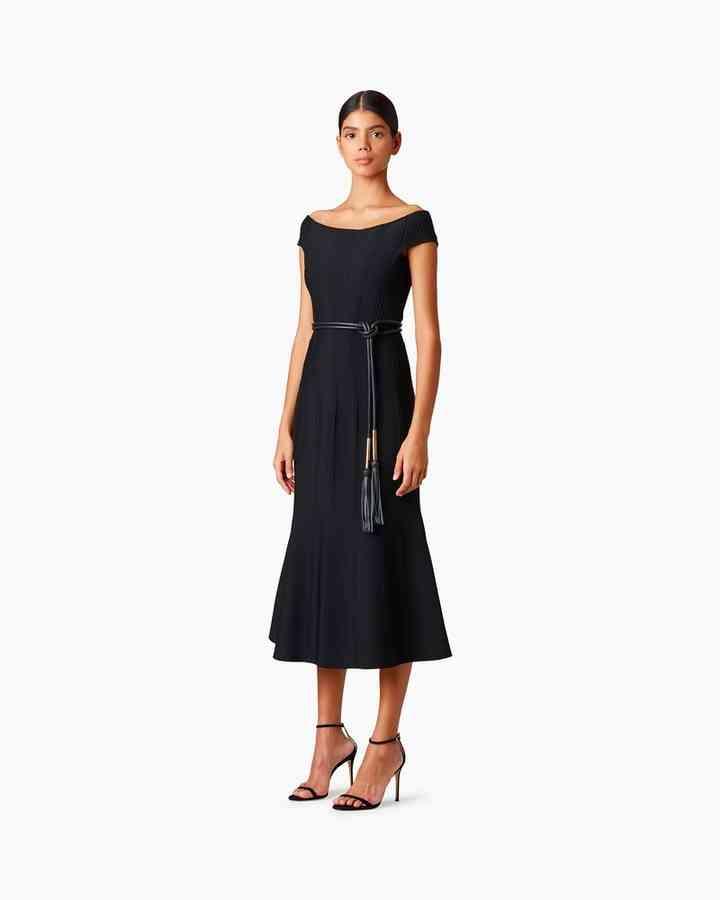 vestido noche negro para fiesta de boda midi