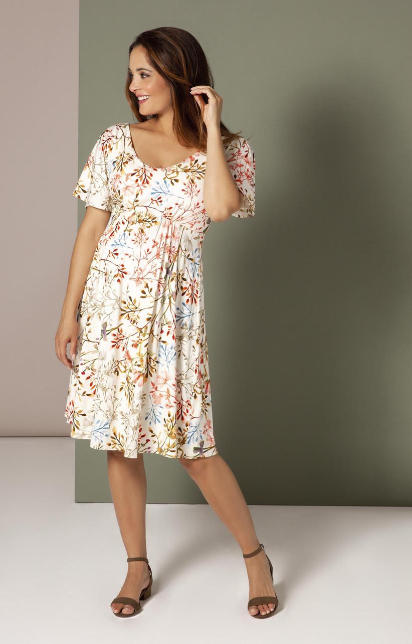 vestido de fiesta floral con manga corta y escote en U