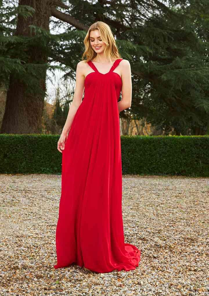 vestido rojo largo para fiesta con tirantes