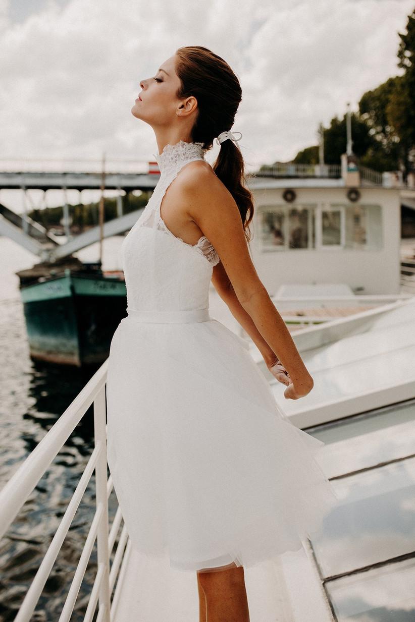 vestido novia corto para boda escote halter