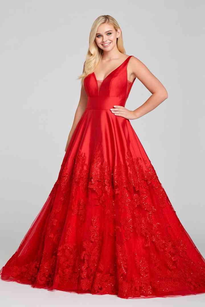 vestido rojo princesa para fiesta de boda en salón