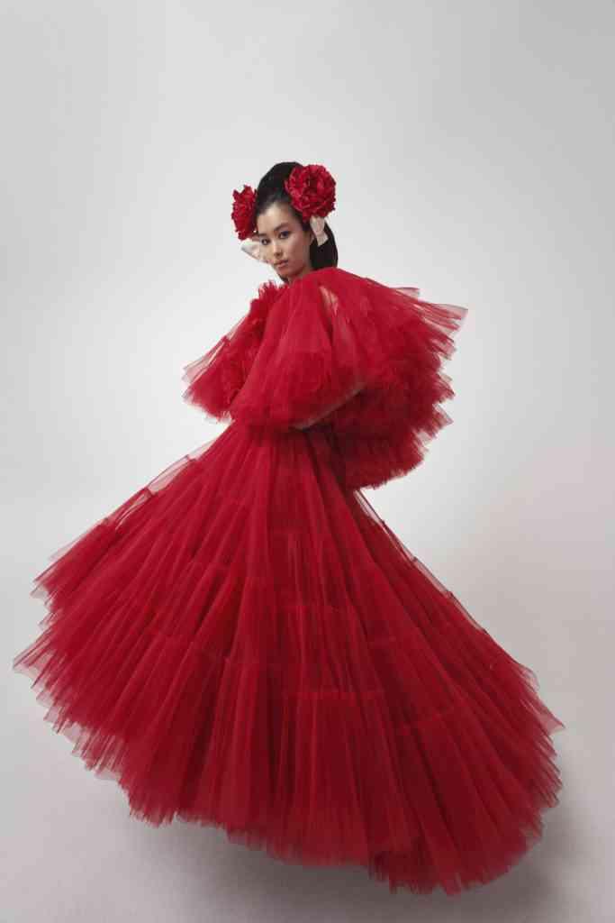 vestido rojo de tul para fiesta