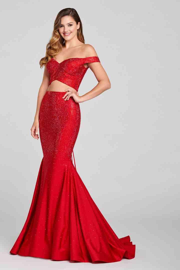 vestido rojo para fiesta de dos piezas ceñido